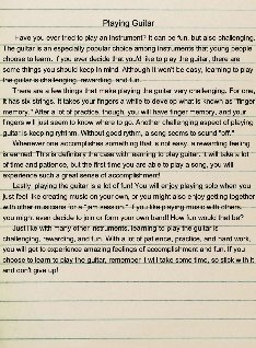 playing guitar 5 paragraph essay: text, images, music, video ...